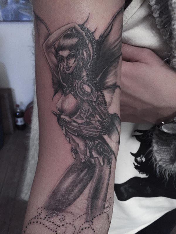 Cyborg pinup fairy tattoo by mumitrold