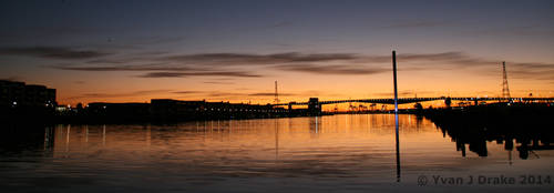 Sunset over the Bolte Bridge Panorama by MrYJDrake
