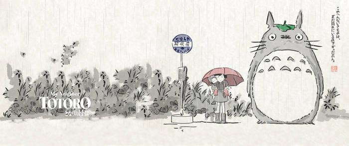 Totoro Calligraphy Wallpaper (3440 x 1440p)