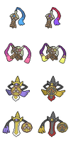 Honedge, Doublade and Aegislash - Hi-res Icons by Levaine