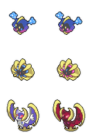 Cosmog, Cosmoem and Solgaleo/Lunala - Hi-res Icons by Levaine