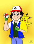 Ash Ketchum in the style of a retro-cartoon