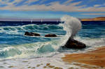 Sunny seascape with waves