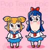 Pop Team Epic gals by FrostyFrostyBunnies