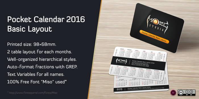 Pocket Calendar 2016 Basic Layout