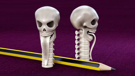 Skull Pencil Cap 3D print mode