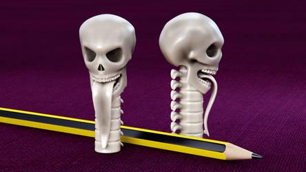 Skull Pencil Cap 3D print mode by M-O-Z-G