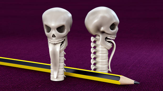 Skull Pencil Cap 3D print mode