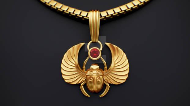 22k Golden Pendant Scarab