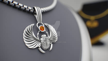 Silver Pendant Scarab