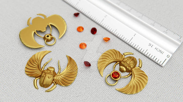 Golden Scarab Pendant 3D print model