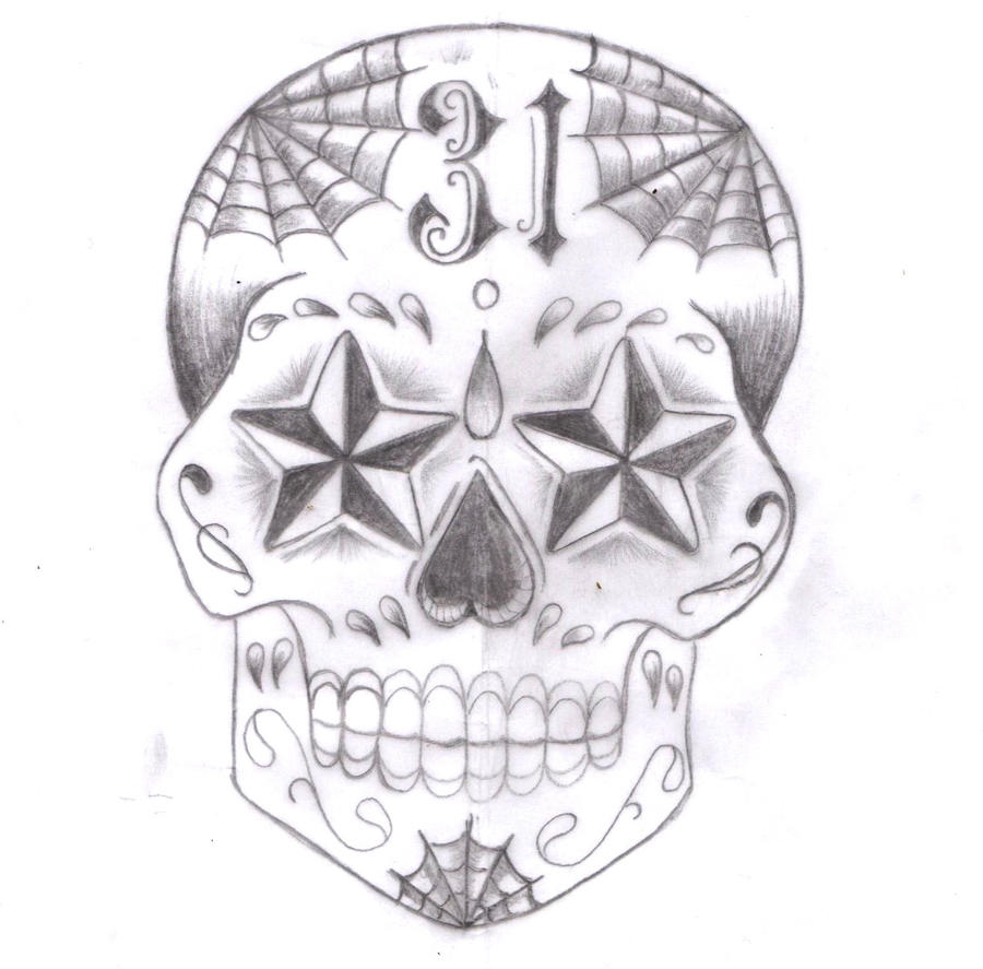 Sugar Skull Tattoo Design 02 By BuGGMoD