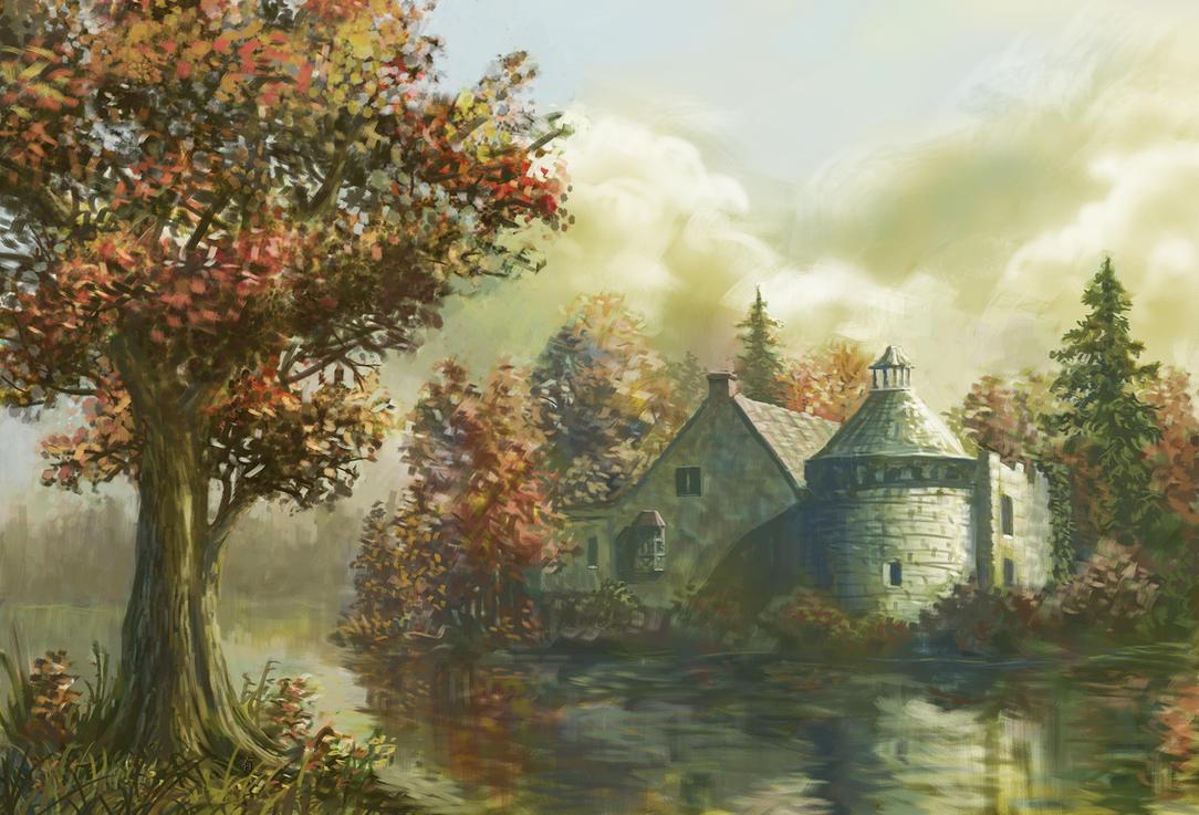 Castle by Lake by arisuonpaa