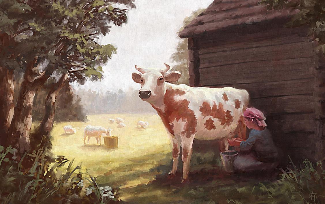 Milking Time by arisuonpaa