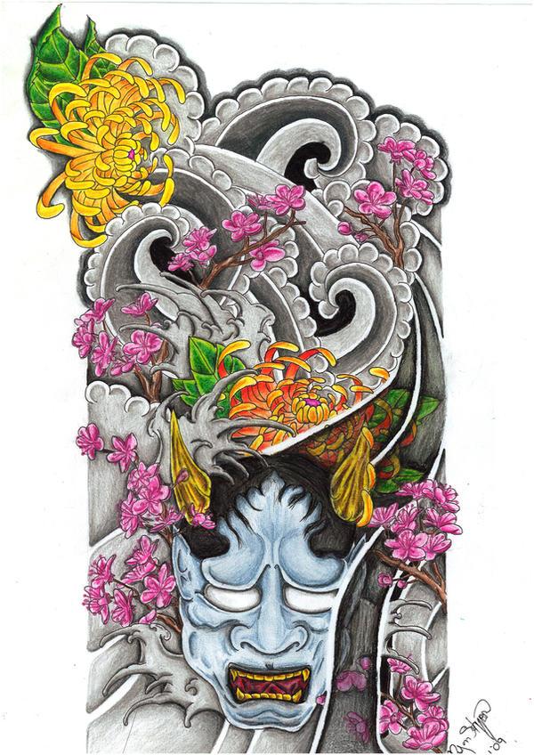 Hannya Sleeve - flower tattoo