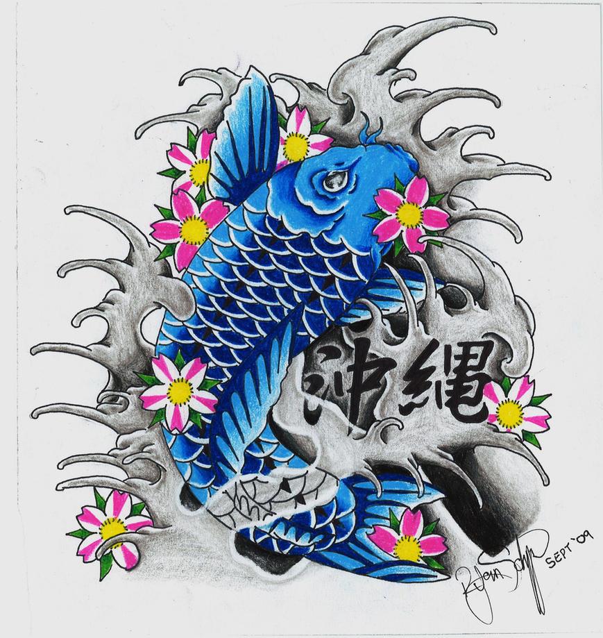 Asian Dragon Tattoo Sketch By Marinaalex On Deviantart: Blue Koi By Ryanschipper89 On DeviantArt