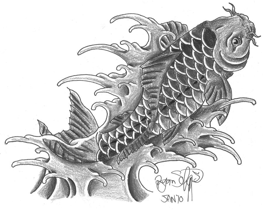Koi fish tattoo black and white drawings for Black white koi