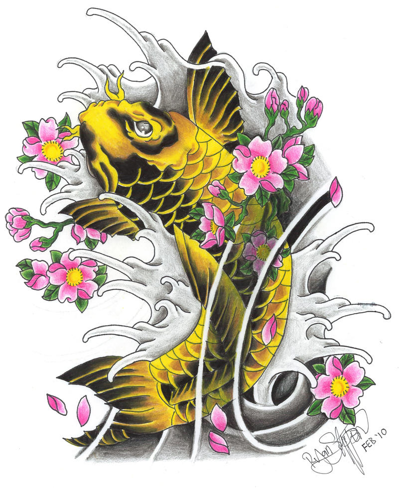 Another Koi With Sakura By Ryanschipper89 On Deviantart