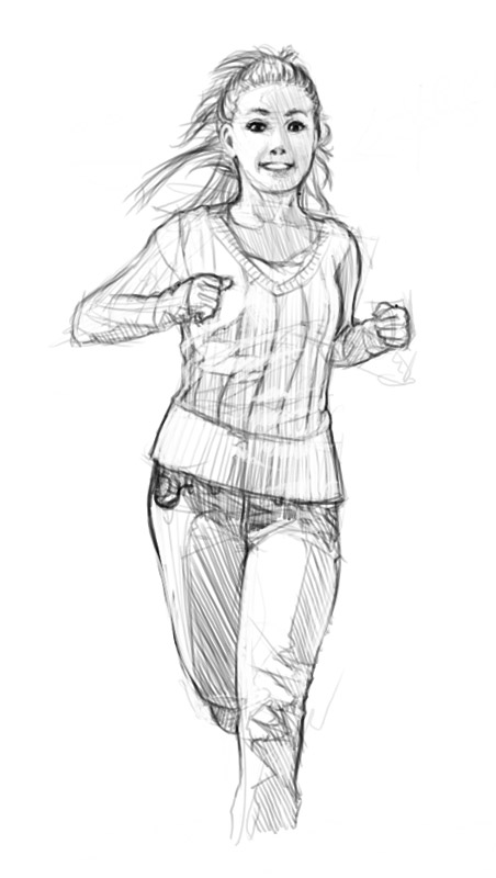 how to draw someone running towards you