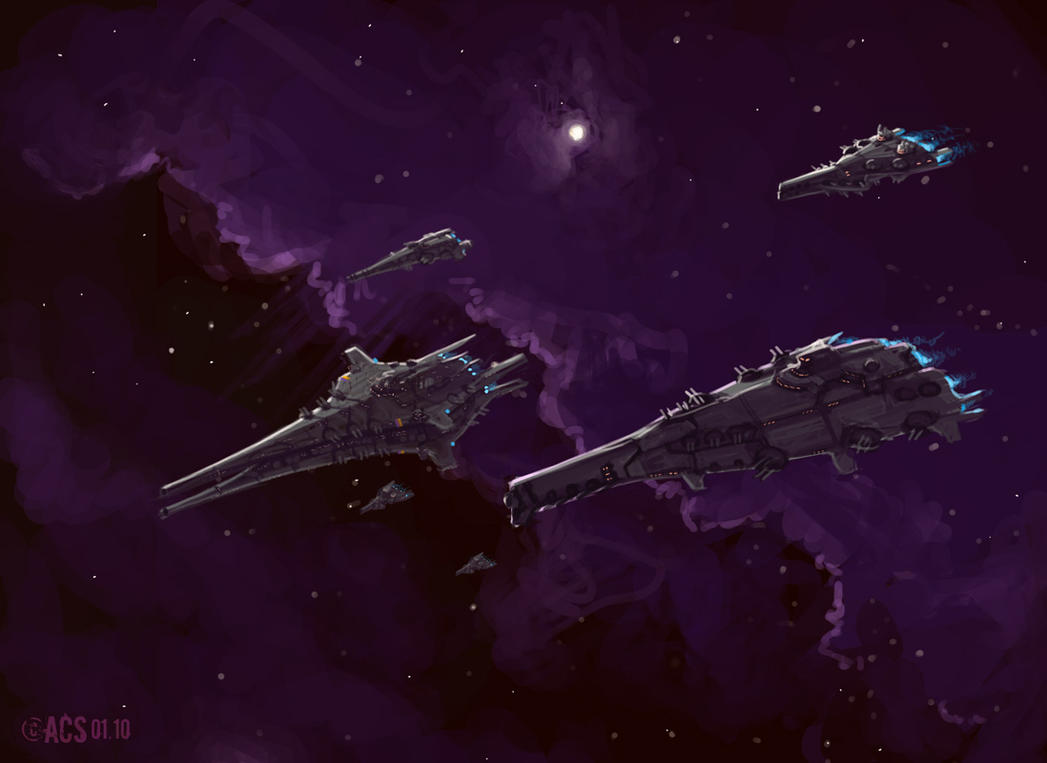 Seen in this image a unique shimmering blade ship accompanied by 2