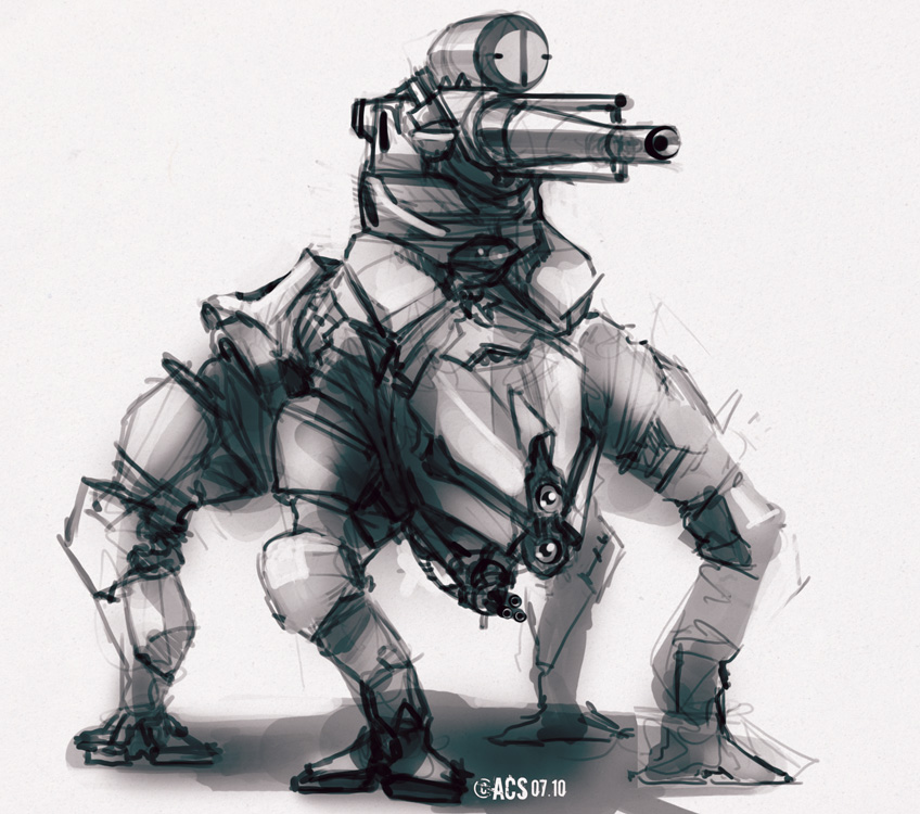 Quad Mech Quick Sketch by Shimmering-Sword