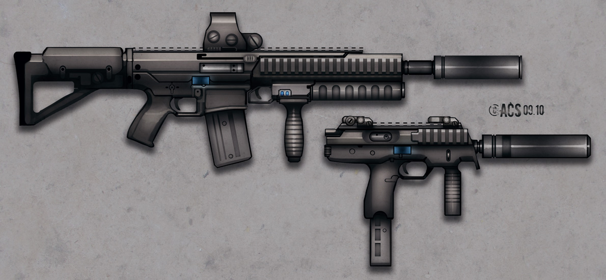 Rifle and SMG - Bladeron by Shimmering-Sword
