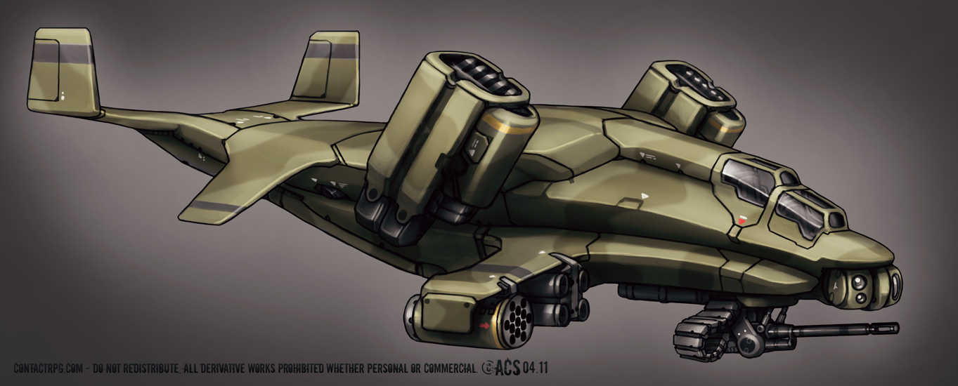 Contact Vtol Transport Gunship by Shimmering-Sword