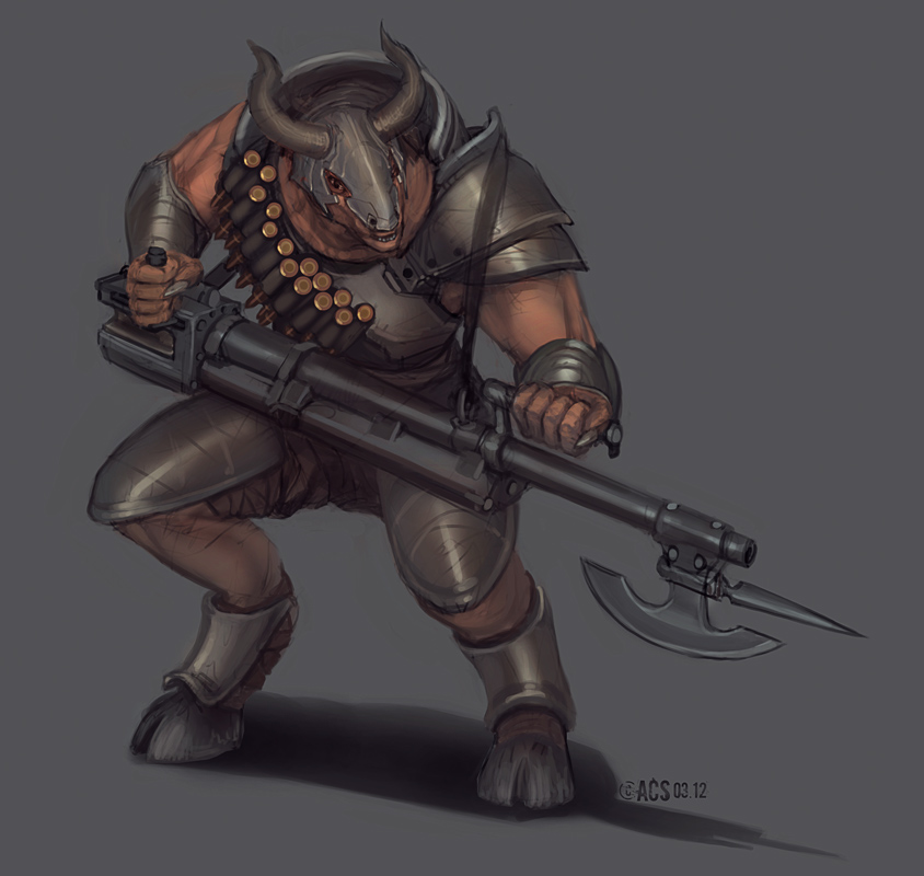 Commission - Minotaur Gunner by Shimmering-Sword