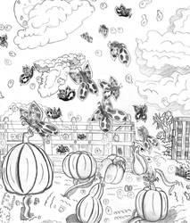 Butterflies in a pumpkin patch Black and white by Throneofsouls