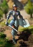 A Knight wearing cheongsam