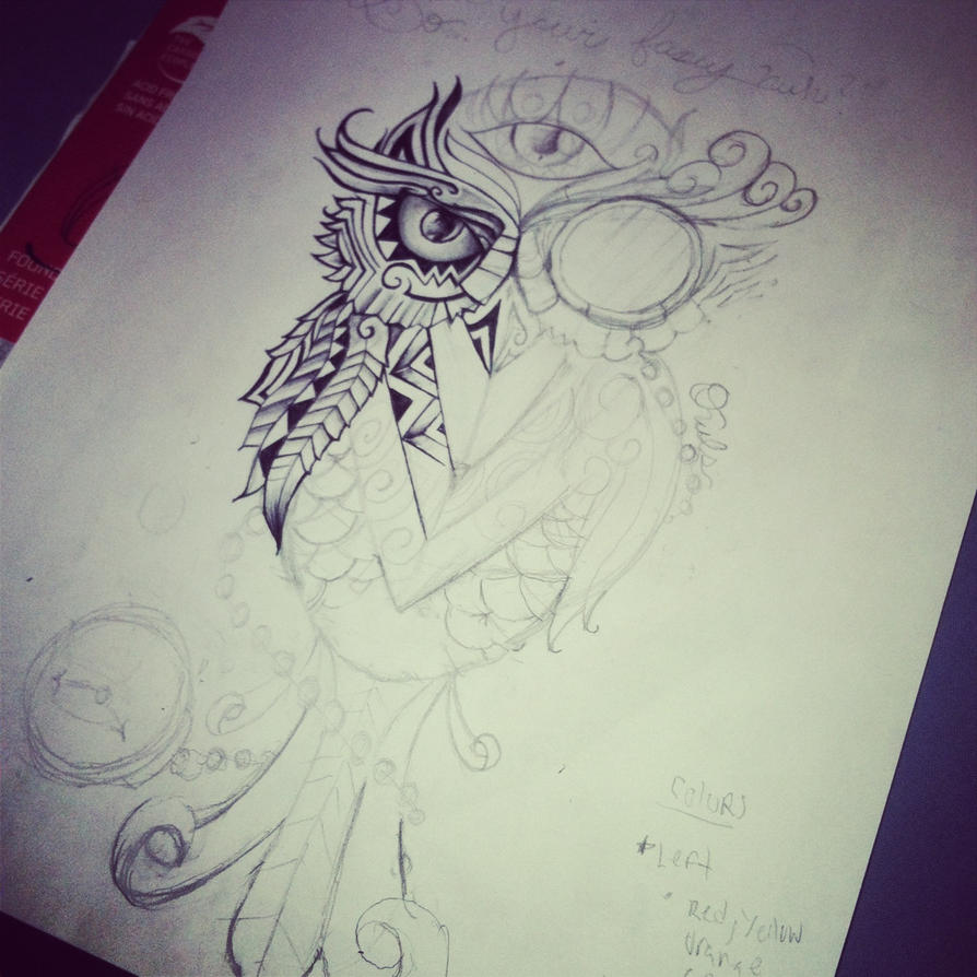 Surreal owl wip by surrealcreativity on deviantart for Cool drawings of owls