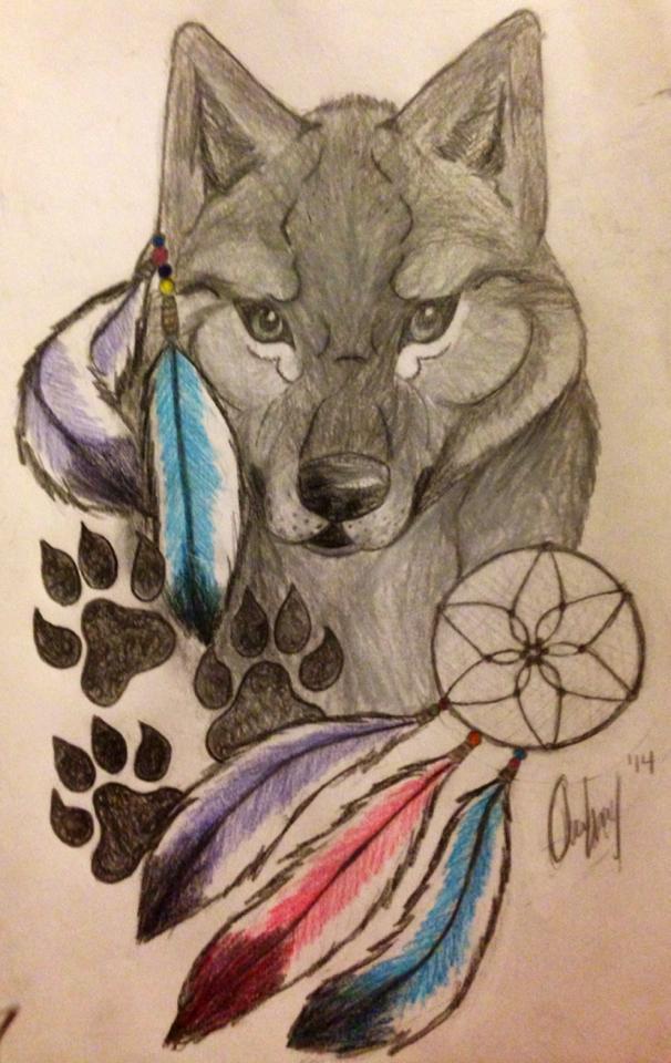 Native American Wolf Head by civildiscord