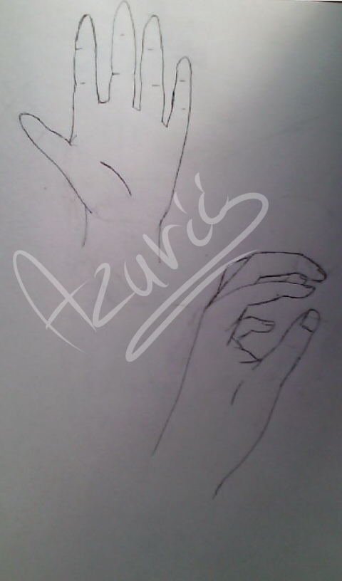 First time I was drawing Hands by Azurii-art