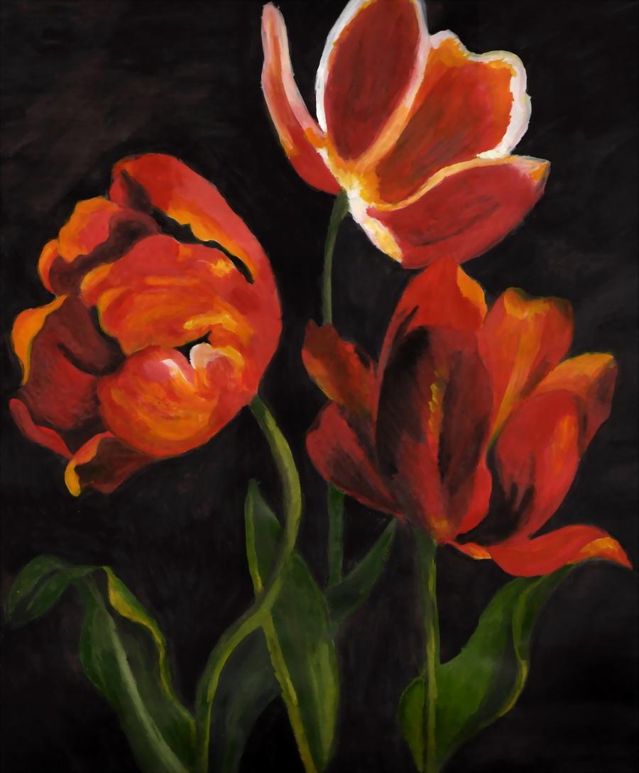 Orange Flowers by purplebrush