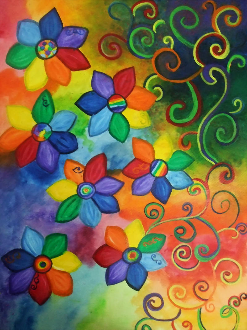 rainbow flowers wallpaper paintings - photo #30