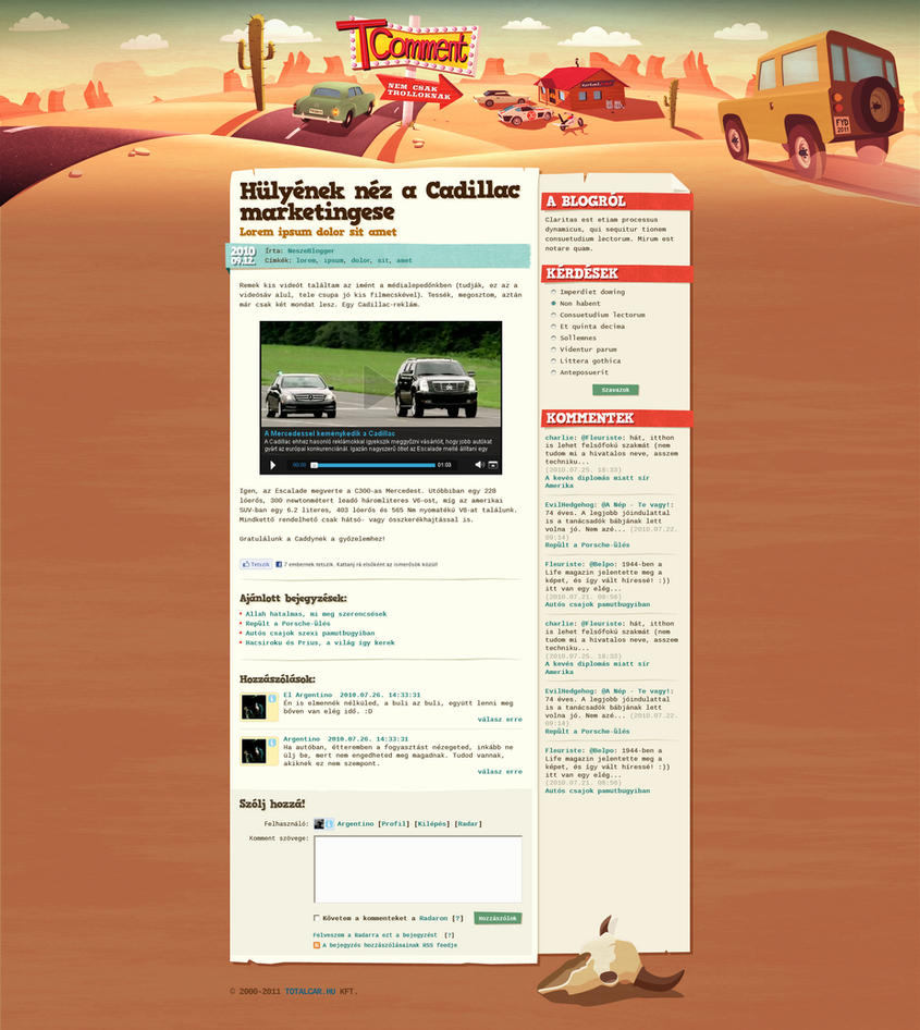 TComment car blog design by floydworx