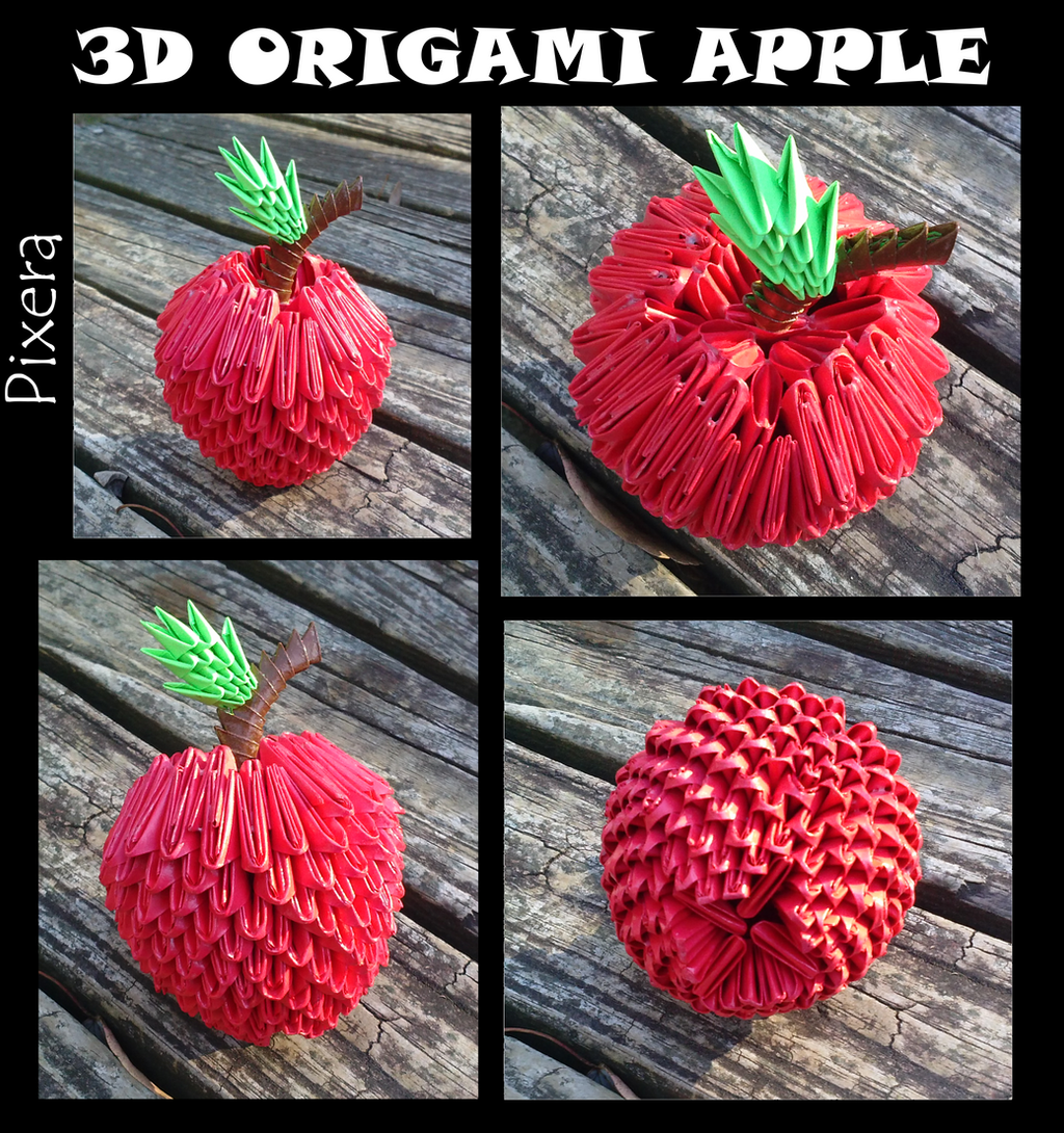3D Origami Apple by bassetluver on DeviantArt - photo#28