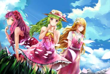 Flower Trio (Humanised) by GreyRadian