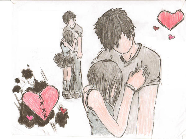 wallpaper of emo couple. emo couple -again by