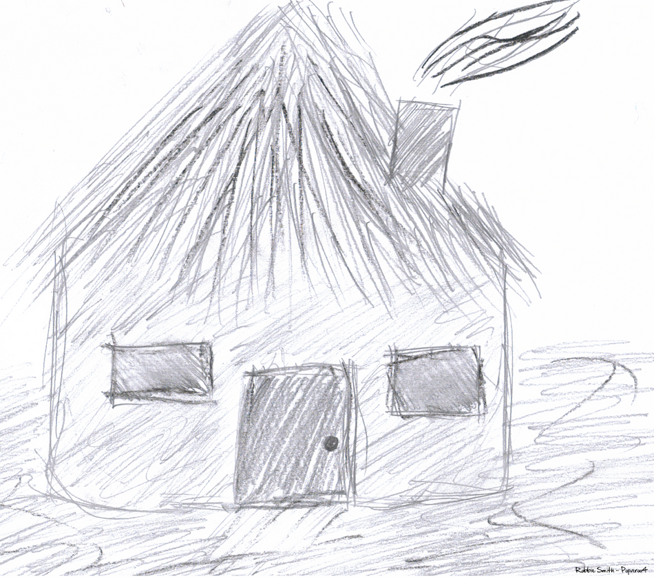 African Hut Drawing