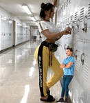 SSSniperwolf at school with tiny