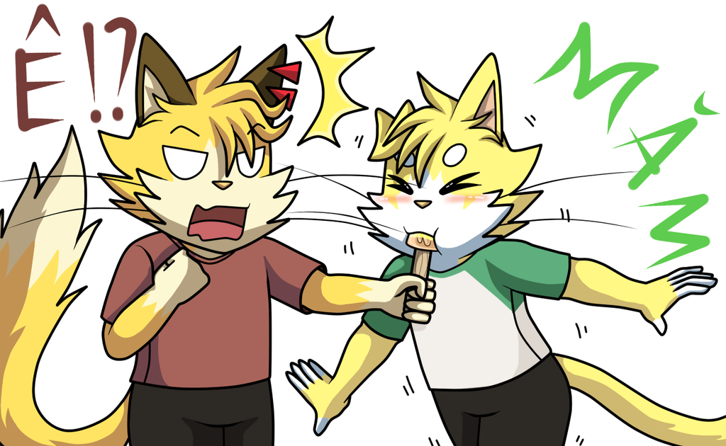 My little brother eat ice cream by Meow-Map-Cute