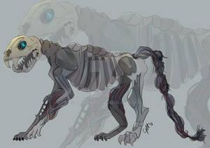 A skeletal figure appears