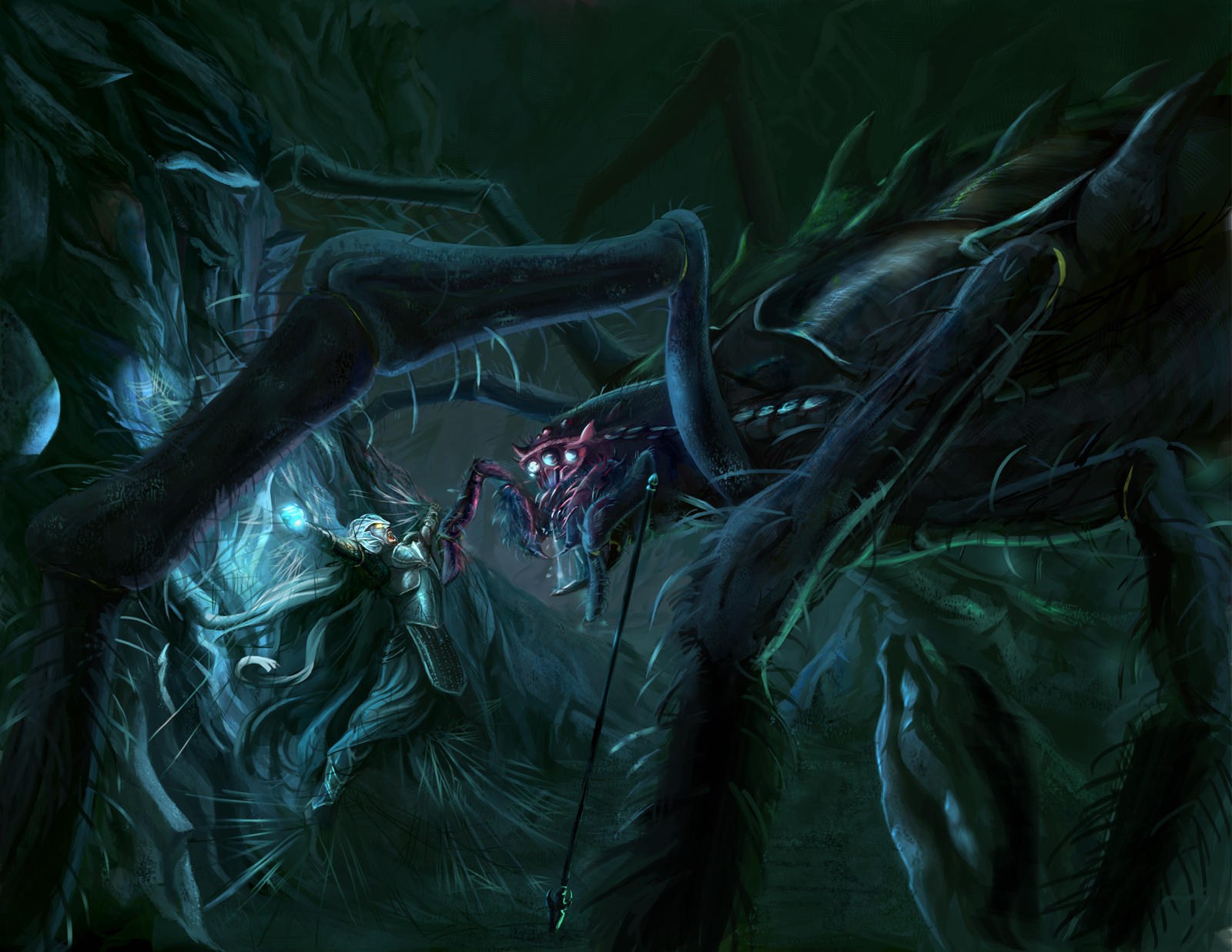 Melkor -morgoth- vs Ungoliant by Jossand
