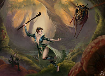 Wasp Whacking Faerie by Warmics