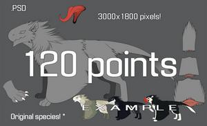 Winged arctic birdlin p2u lineart 120 points