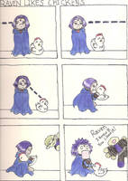 Raven likes Chickens by Estell-chan