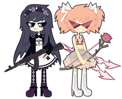 Madoka Kaname and Homura Akemi by nekozneko