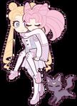 Sailor Moon : Usagi and Chibiusa Tsukino + Luna