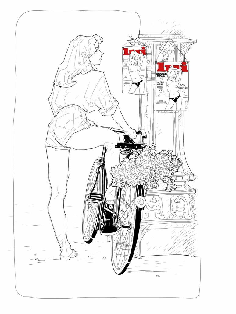 Bike and flowers by kartinka75